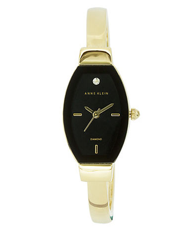 Anne Klein Analog Edge-to-Edge Tonneau Goldtone Bracelet Watch-GOLD-One Size