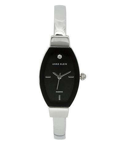 Anne Klein Analog Edge-to-Edge Tonneau Silvertone Bracelet Watch-SILVER-One Size