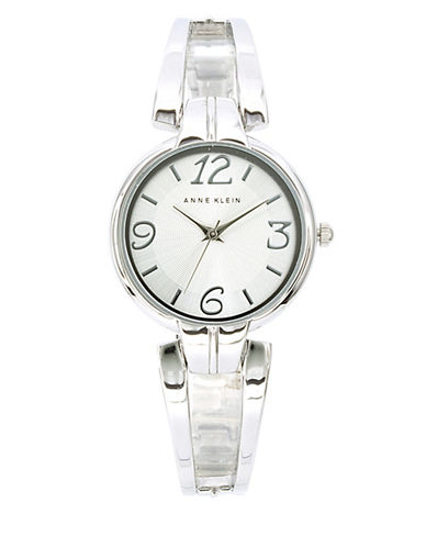 Anne Klein Analog Metals Collection Semi-Bangle Bracelet Watch-SILVER-One Size