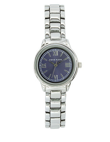 Anne Klein Analog Metals Collection Blue Dial Silvertone Bracelet Watch-SILVER-One Size