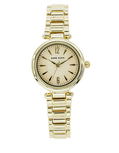 Anne Klein Analog Metals Collection Mother-of-Pearl Dial Goldtone Bracelet Watch-GOLD-One Size