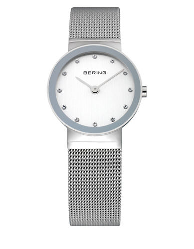 Bering Classic White Dial Stainless Steel and Swarovski Crystal Bracelet Watch-SILVER-One Size