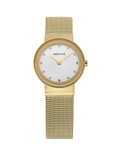 Bering Classic Goldtone Stainless Steel and Swarovski Crystal Bracelet Watch-GOLD-One Size