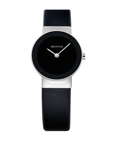 Bering Classic Analog Black Leather Silvertone Watch-BLACK-One Size
