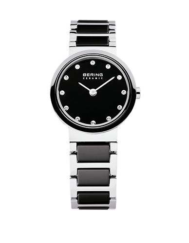 Bering Black Dial Ceramic Stainless Steel and Swarovski Crystal Element Bracelet Watch-BLACK-One Size