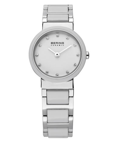 Bering White Dial Ceramic Stainless Steel and Swarovski Crystal Element Bracelet Watch-WHITE-One Size