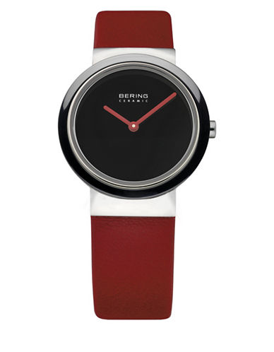 Bering Black Dial Ceramic Leather Element Strap Watch-RED-One Size