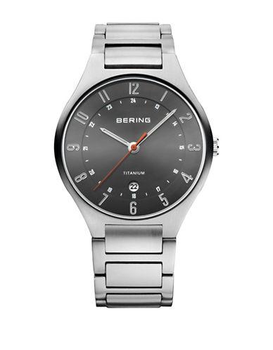 Bering Titanium Analog Silvertone Bracelet Watch-SILVER-One Size