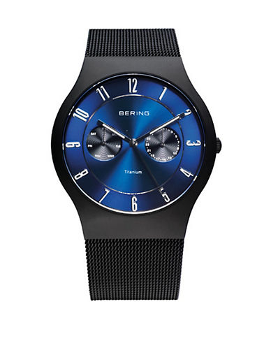 Bering Black Classic Stainless Steel Multi-Function Bracelet Watch-BLACK-One Size