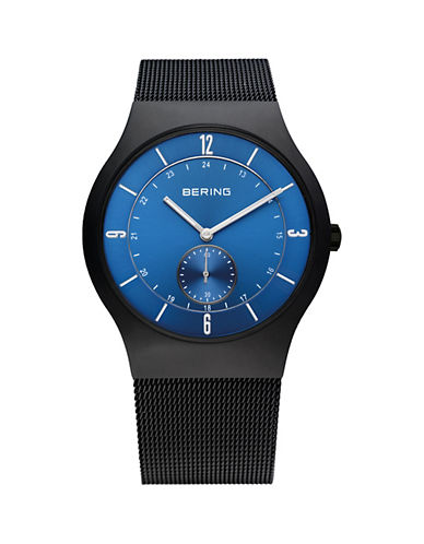 Bering Black Classic Stainless Steel Sweep-Second Bracelet Watch-BLACK-One Size