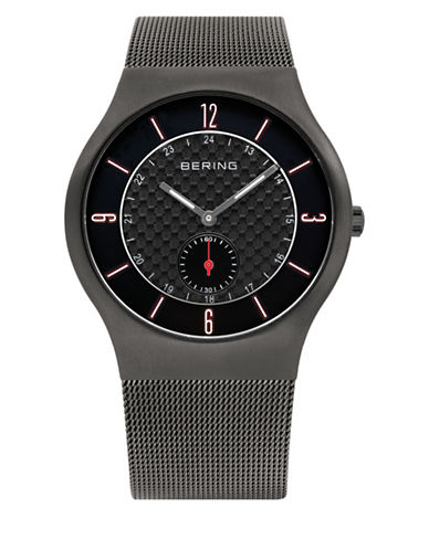 Bering Black Classic Stainless Steel Sweep-Second Bracelet Watch-GREY-One Size