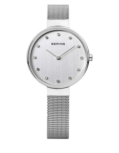 Bering Silver Dial Classic Stainless Steel and Swarovski Crystal Bracelet Watch-SILVER-One Size