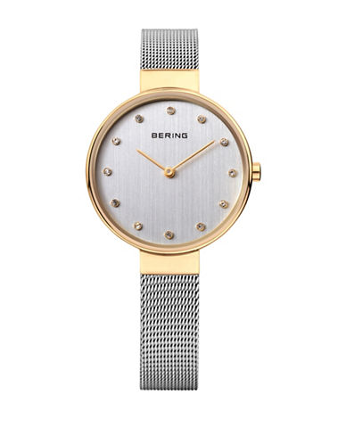 Bering Classic Analog Two-Tone Swarovski Crystal Watch-SILVER-One Size