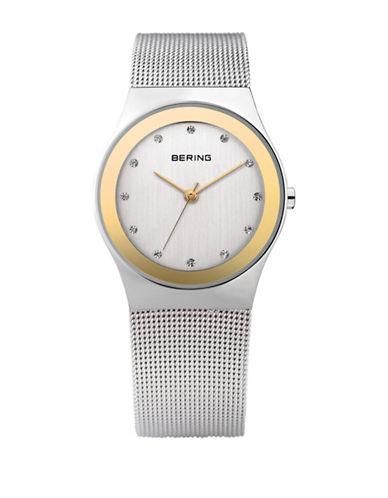 Bering Classic Analog Two-Tone Swarovski Crystal Watch-SILVER-One Size