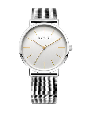 Bering Classic Analog Stainless Steel Mesh Bracelet Watch-SILVER-One Size