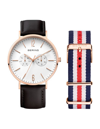 Bering White Dial Classic Multi-Function Leather Strap Watch-BLACK-One Size