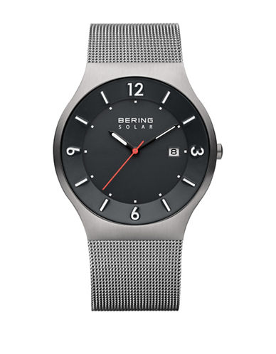 Bering Solar Analog Silvertone Mesh Watch-SILVER-One Size