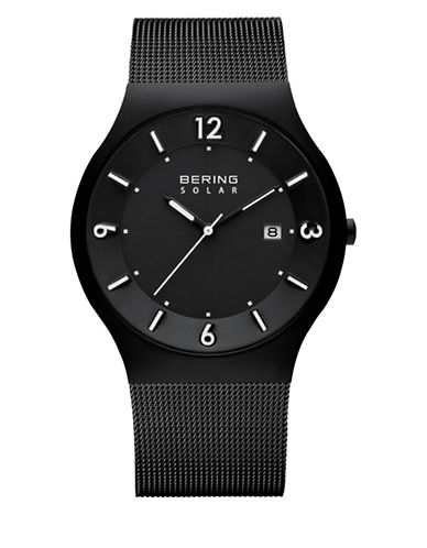 Bering Black Analog Solar Stainless Steel Bracelet Watch-BLACK-One Size