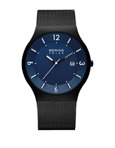 Bering Solar Analog Blue Dial Mesh Watch-BLACK-One Size