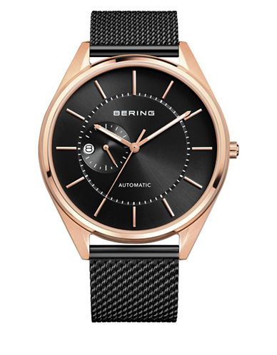 Bering Black Automatic Classic Stainless Steel Bracelet Watch-BROWN-One Size