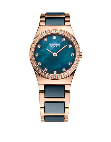 Bering Blue Dial Ceramic Stainless Steel and Swarovski Crystal Bracelet Watch-BLUE-One Size