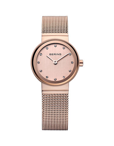 Bering Classic Rose Stainless Steel and Swarovski Crystal Bracelet Watch-ROSE GOLD-One Size