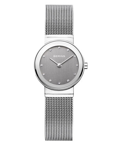 Bering Classic Grey Dial Stainless Steel and Swarovski Crystal Bracelet Watch-SILVER-One Size