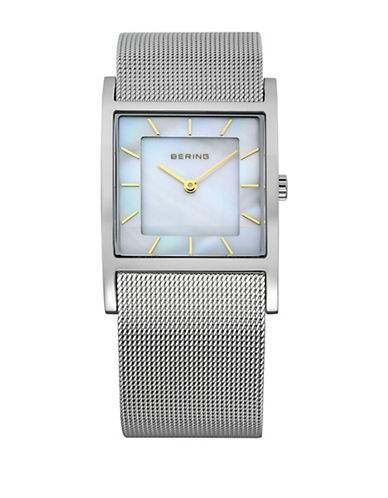 Bering Classic Silvertone Stainless Steel Square Bracelet Watch-SILVER-One Size