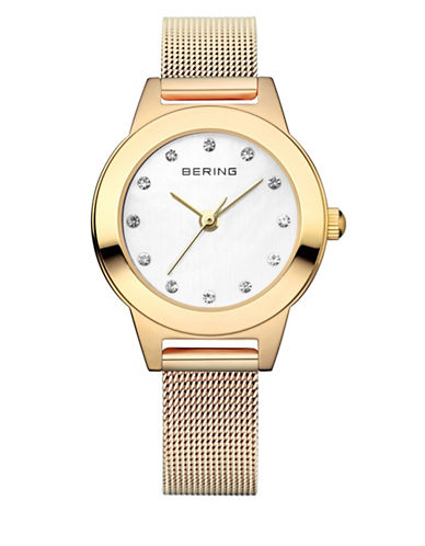 Bering Goldtone Classic Stainless Steel and Swarovski Crystal Bracelet Watch-GOLD-One Size