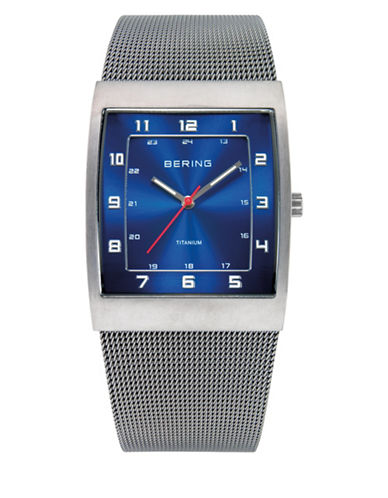 Bering Silvertone Classic Stainless Steel Rectangular Bracelet Watch-SILVER-One Size