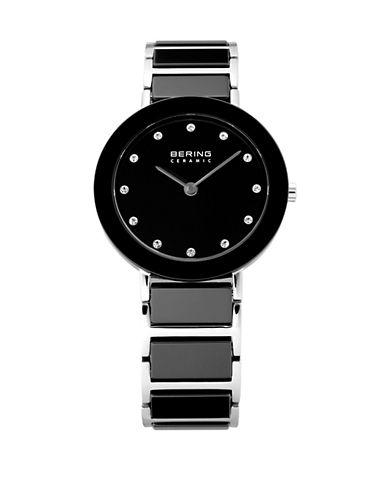 Bering Black Dial Ceramic Stainless Steel and Swarovski Crystal Element Bracelet Watch-BLACK-One Size
