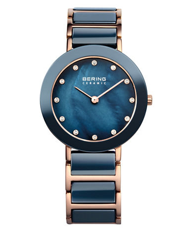 Bering Blue Dial Ceramic Stainless Steel and Swarovski Crystal Element Bracelet Watch-BLUE-One Size