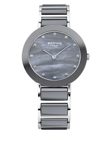 Bering Grey Dial Ceramic Stainless Steel and Swarovski Crystal Element Bracelet Watch-GREY-One Size