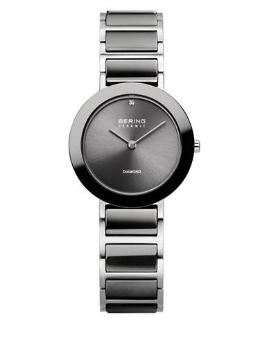 Bering Grey Dial Ceramic Stainless Steel and Swarovski Crystal Element Bracelet Watch-BLACK-One Size