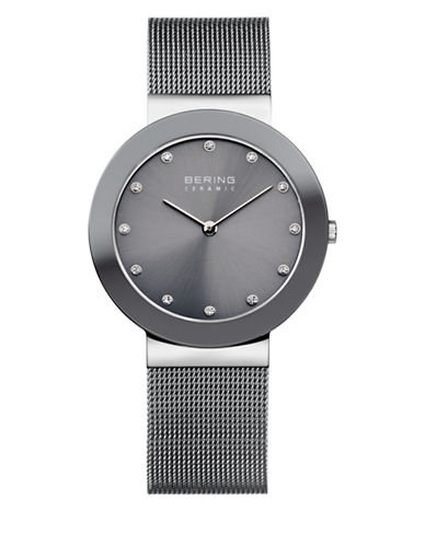 Bering Grey Dial Ceramic Stainless Steel and Swarovski Crystal Element Bracelet Watch-SILVER-One Size