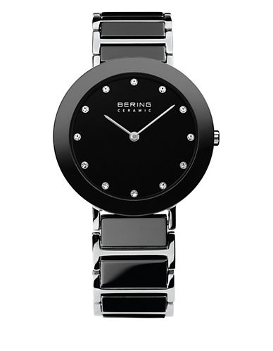 Bering Black Ceramic Stainless Steel and Swarovski Crystal Element Bracelet Watch-BLACK-One Size