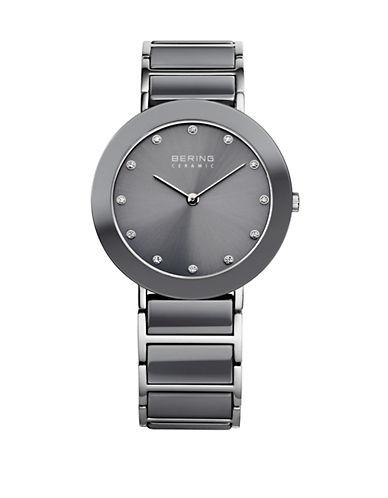 Bering Grey Ceramic Stainless Steel and Swarovski Crystal Element Bracelet Watch-GREY-One Size