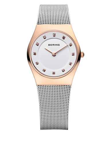 Bering Silvertone Classic Stainless Steel and Crystal Strap Watch-SILVER-One Size