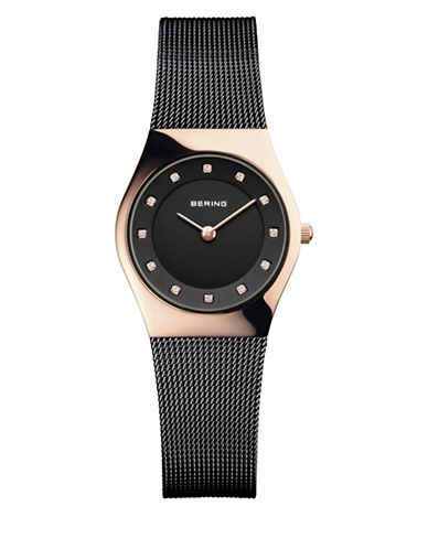 Bering Black Classic Stainless Steel and Crystal Strap Watch-BLACK-One Size