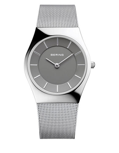 Bering Silvertone Classic Stainless Steel Bracelet Watch-SILVER-One Size