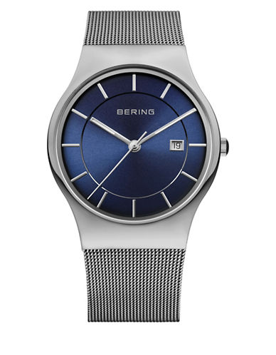 Bering Silvertone Blue Dial Classic Stainless Steel Bracelet Watch-SILVER-One Size