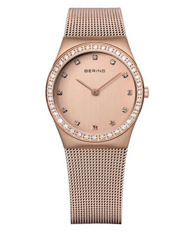 Bering Rose Classic Stainless Steel and Swarovski Crystal Strap Watch-ROSE GOLD-One Size