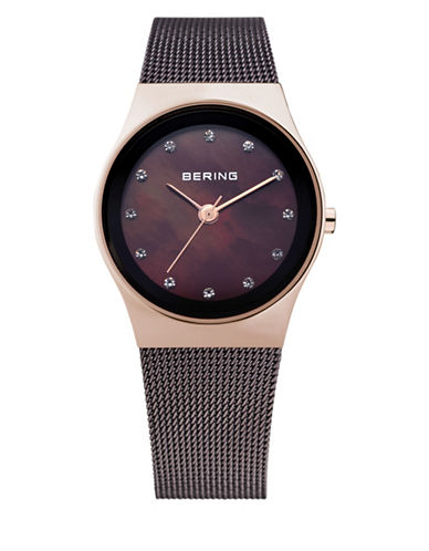 Bering Brown Dial Classic Stainless Steel and Swarovski Crystal Strap Watch-BROWN-One Size