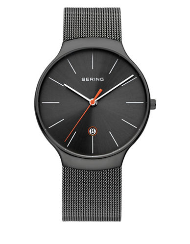 Bering Black Classic Stainless Steel Analog Bracelet Watch-GREY-One Size