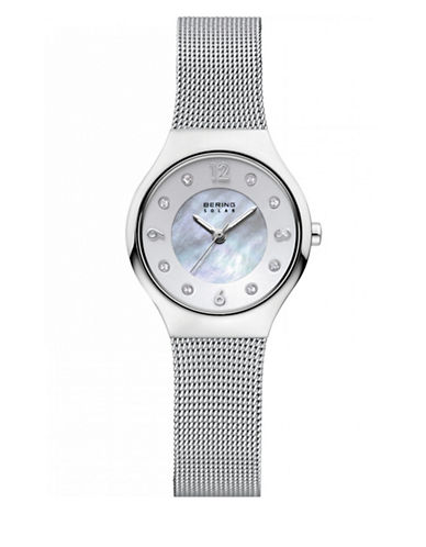 Bering Analog Silvertone Solar Stainless Steel and Crystal Bracelet Watch-SILVER-One Size