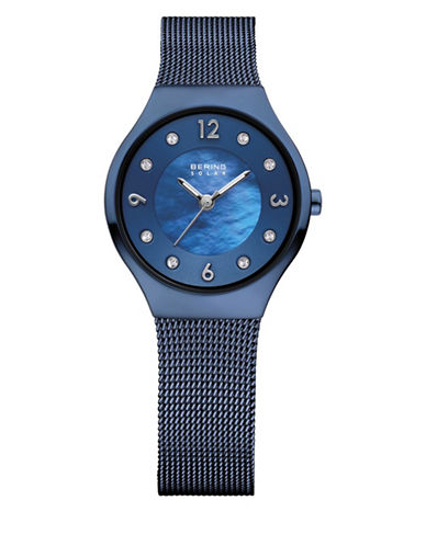 Bering Blue Analog Solar Stainless Steel and Crystal Bracelet Watch-BLUE-One Size