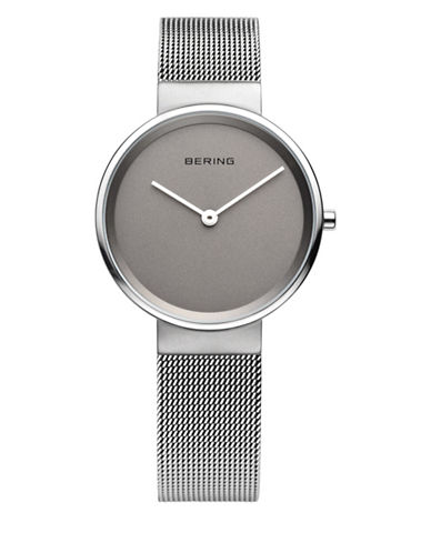 Bering Grey Dial Analog Classic Stainless Steel Bracelet Watch-SILVER-One Size