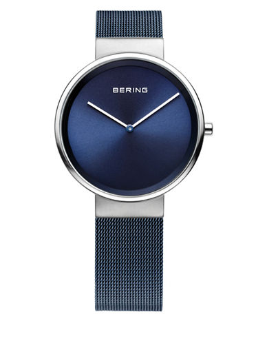 Bering Blue Dial Analog Classic Stainless Steel Bracelet Watch-BLUE-One Size