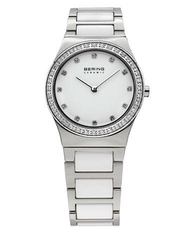 Bering Silvertone Ceramic Stainless Steel and Swarovski Crystal Bracelet Watch-WHITE-One Size