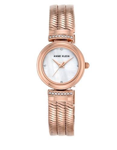Anne Klein Rose Goldtone Bracelet Crystal Watch-ROSE GOLD-One Size